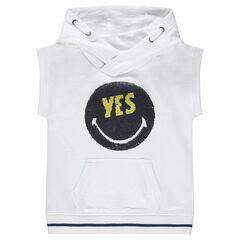 Tee-shirt manches courtes en molleton avec ©Smiley en sequins magiques