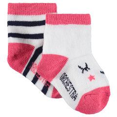 Lot de 2 paires de chaussettes assorties avec rayures et motifs jacquard