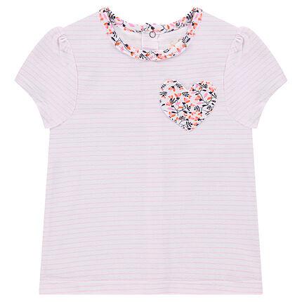 Tee-shirt manches courtes rayé avec poche à fleurs forme coeur