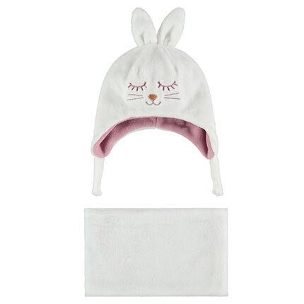 Ensemble bonnet avec oreilles de lapin en relief et écharpe en sherpa