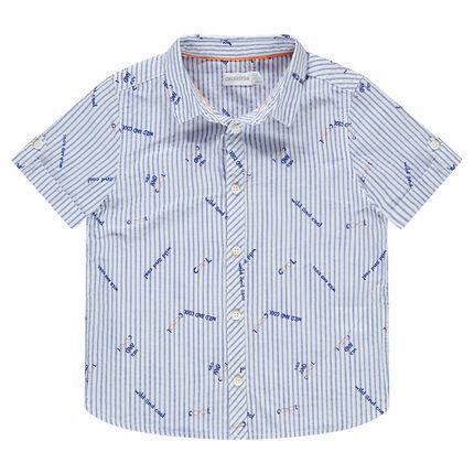 Chemise manches courtes avec rayures et inscriptions all-over
