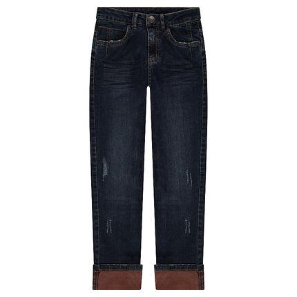 Junior - Jeans effet used et crinkle avec revers contrasté