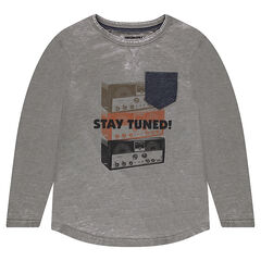 Junior - Tee-shirt manches longues en jersey effet délavé avec print vintage