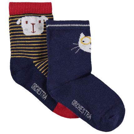Lot de 2 paires de chaussettes motif chien chat en jacquard