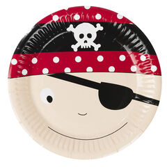 x 10 assiettes en carton motif Pirate