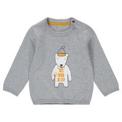 Pull en tricot avec motif fantaisie printé