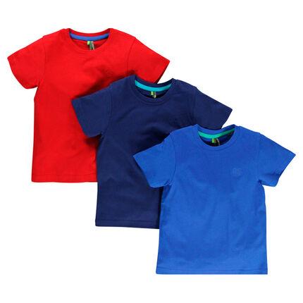 Lot de 3 tee-shirts unis avec logo printé