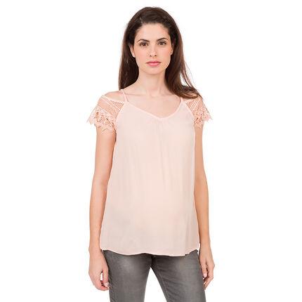 Tee-shirt de grossesse à épaules dénudées en dentelle