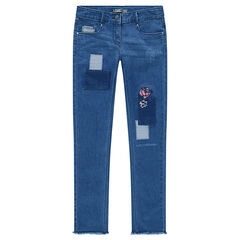 Junior - Jeans effet used et crinkle avec broderies florales