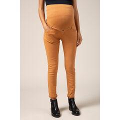 Pantalon de grossesse ocre coupe slim à bandeau haut