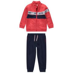 Jogging bicolore avec gilet zippé pantalon en molleton uni