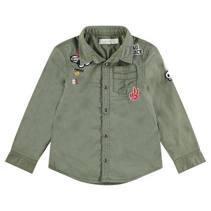 Chemise manches longues en coton surteint avec badges patchés