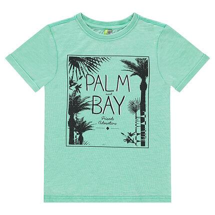 Junior - Tee-shirt manches courtes en jersey avec palmiers printés