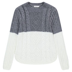 Junior - Pull long bicolore en tricot avec torsades