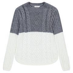 Junior - Pull long bicolore en tricot avec torsades