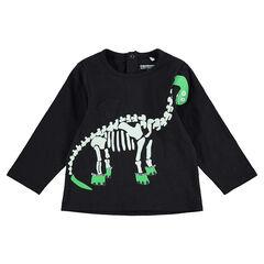 Tee-shirt manches longues HALLOWEEN avec dinosaure squelette printé