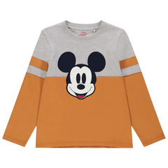 T-shirt manches longues bicolore broderie Mickey Disney , Orchestra