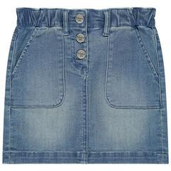 Jupe en jean effet used à boutons et poches