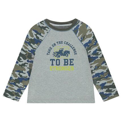 Tee-shirt manches longues motif army avec print sur le devant