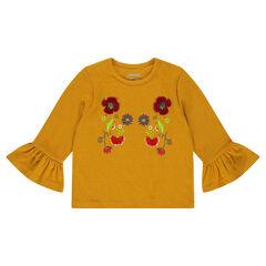 Tee-shirt à manches volantées avec broderies florales