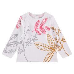 Tee-shirt manches longues avec imprimé végétal contrasté