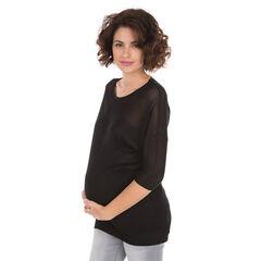Pull de grossesse en maille ajourée et unie