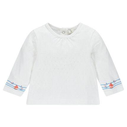 Tee-shirt manches longues en pointelle avec print vagues