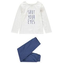 Pyjama avec haut à message printé et bas uni