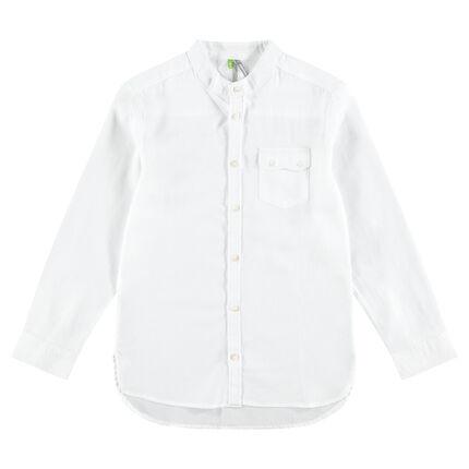 Junior - Chemise en coton fantaisie avec poche à rabat boutonné