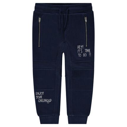 Junior - Pantalon de jogging en molleton fantaisie avec zips et messages printés