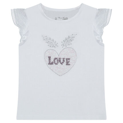 Tee-shirt manches courtes avec coeur en sequins magiques