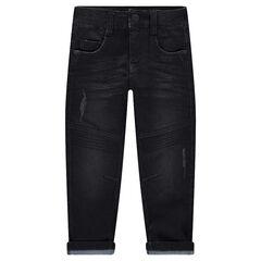 Jeans effet used et crinkle avec jeux de surpiqûres