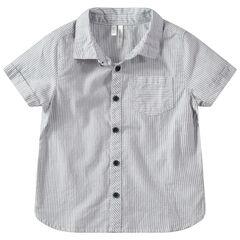 Chemise manches courtes à rayures verticales et poche