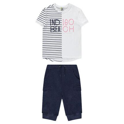 Junior - Ensemble avec tee-shirt à rayures placées et bermuda à poches