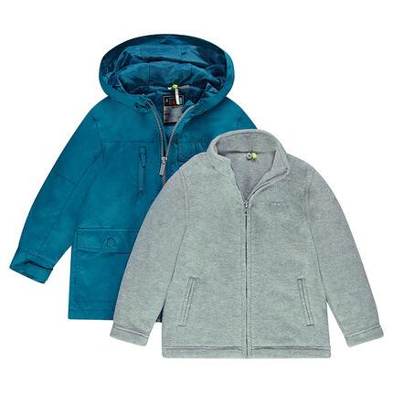 Coupe-vent à capuche 2 en 1 avec gilet amovible en sherpa