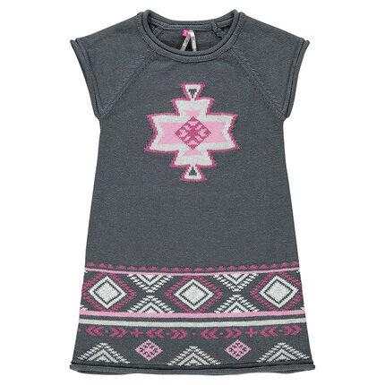 Robe en tricot jacquard motifs ikat
