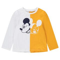 Tee-shirt manches longues en jersey bicolore avec print Mickey ©Disney