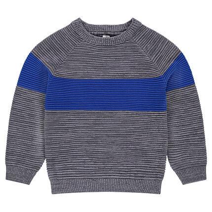 Junior - Pull en tricot ottoman avec bande contrastée