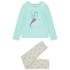 Pyjama en jersey print sirène pailletée