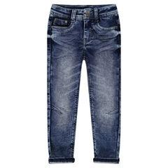 Jeans en molleton effet used