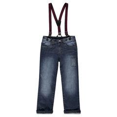 Jeans droit effet used et crinkle avec bretelles amovibles rayées