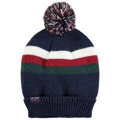 Junior - Bonnet en tricot à bandes contrastées et pompon