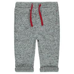 Pantalon en polaire chiné avec cordons contrastés
