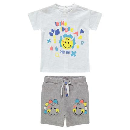 Ensemble avec tee-shirt print ©Smiley et bermuda avec Smiley patchés
