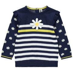 Pull en tricot à fleurs et rayures et jacquard