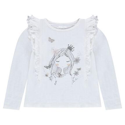 Tee-shirt manches longues à volants et poupée printée