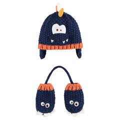Ensemble bonnet et moufles en tricot avec détails monstres patchés a30b2c22318