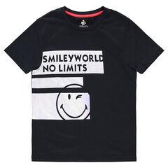 Junior - Tee-shirt manches courtes en jersey avec bandes et ©Smiley printés