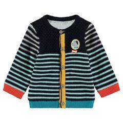 Gilet en tricot rayé doublé jersey avec badge patché sur la poitrine