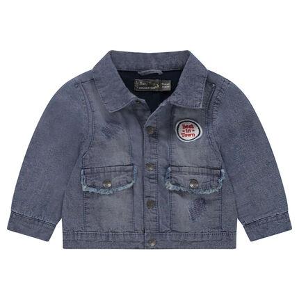 veste en jeans effet used avec badge patch orchestra fr. Black Bedroom Furniture Sets. Home Design Ideas